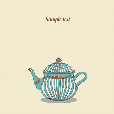 Vintage card with teapot - vector Illustration