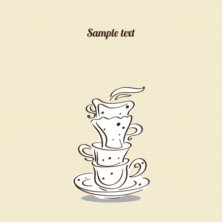 demitasse: Vintage card with cups - vector