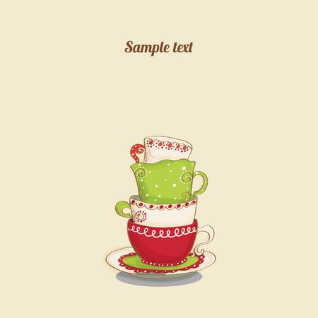 tarde de cafe: Tarjeta de la vendimia con las tazas - vector