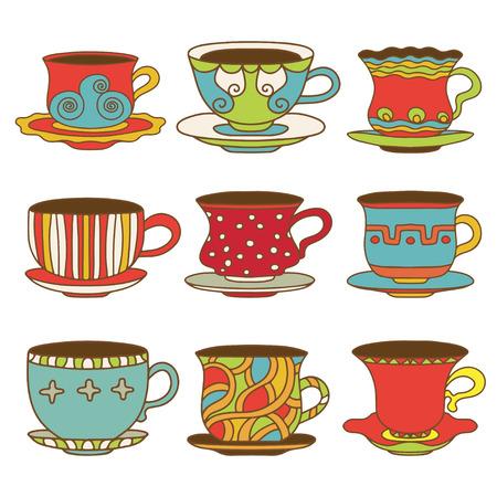tarde de cafe: Iconos juego de t� tazas de caf� - vector