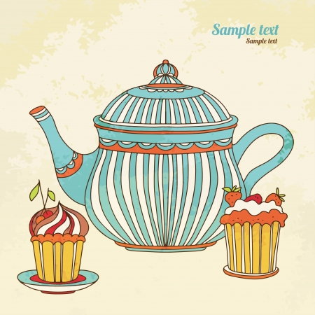 tea party: Vintage background with cakes and teapot - vector