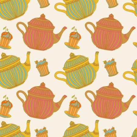 Vintage seamless pattern with cakes and teapots - vector Vector