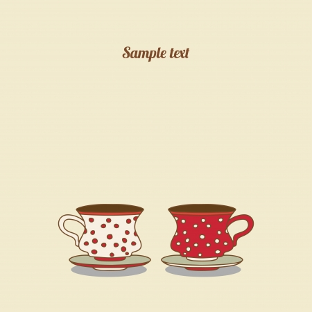 coffeecup: Vintage card with cups - vector