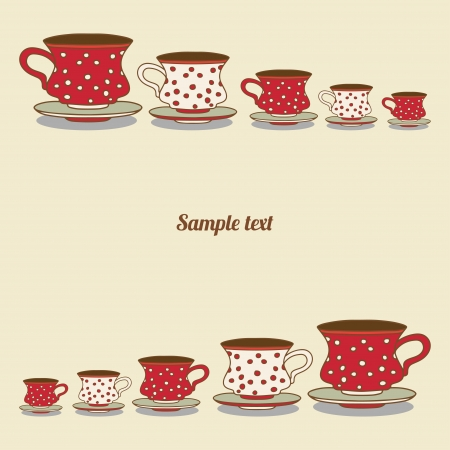 dinnerware: Vintage card with cups - vector
