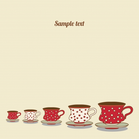 Vintage card with cups - vector