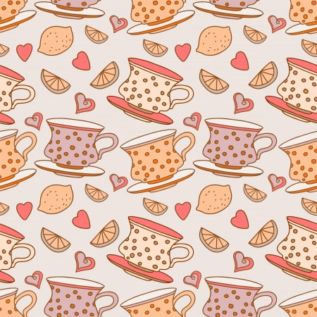 Vintage seamless pattern with cups, lemons and  hearts  Vector