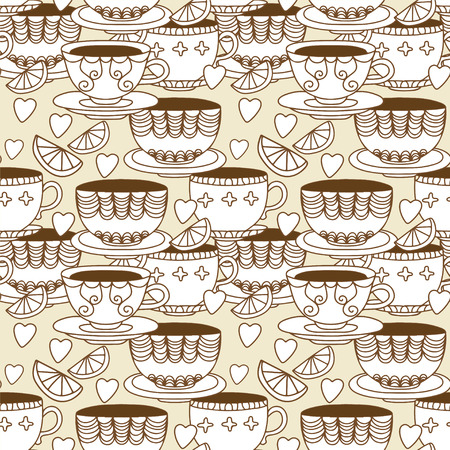 demitasse: Seamless pattern with cups, lemons and  hearts