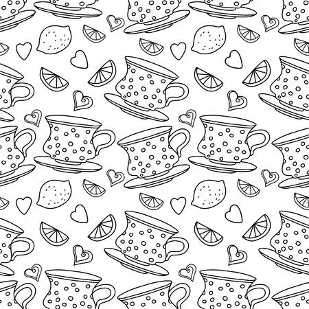 demitasse: Modello senza saldatura con tazze, limoni e cuori in bianco e nero Vettoriali