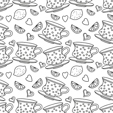 teatime: Seamless pattern with cups, lemons and  hearts in black and white