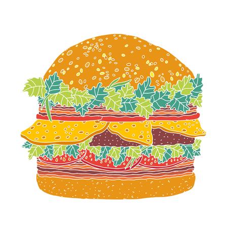 Cheeseburger cartoon illustration  Vector