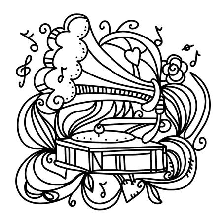 musik hintergrund: Musik-Hintergrund mit dem Grammophon Illustration