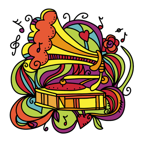 Colorful music background with the gramophone  Vector