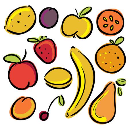 platano caricatura: Establecer iconos frutas - vector