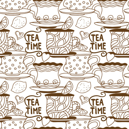 teatime: Vintage seamless pattern with cups, lemons and  hearts  Illustration