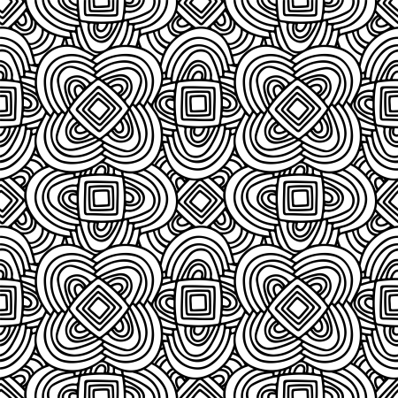Geometric seamless pattern in black and white - vector Vector