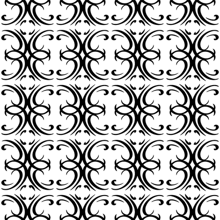 Vintage seamless pattern in black and white - vector  Vector