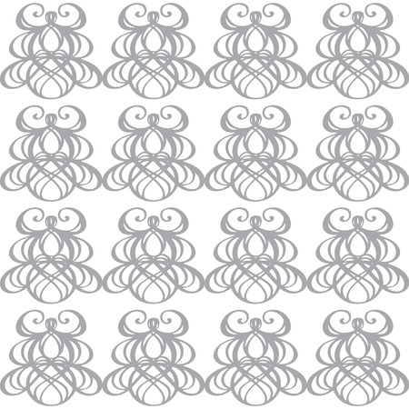 Vintage seamless pattern in white and gray - vector  Vector