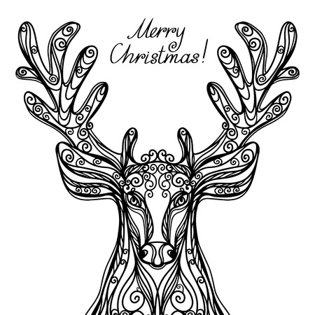 Merry Christmas card with deer - vector