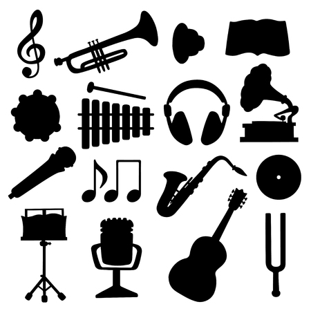 Set black silhouette music icons - vector Vector