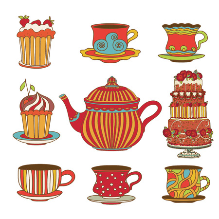 drink tea: Set cups, cakes and kettle  - vector Illustration