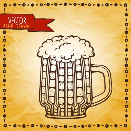 Vintage background with sketch mug - vector Vector