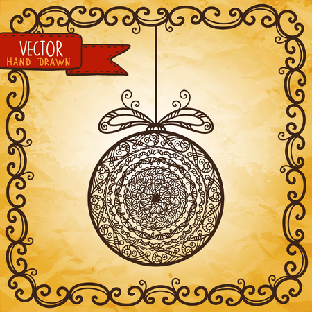 Vintage background with Christmas ball - vector Vector