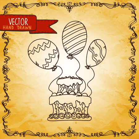 Vintage background with cake and balloons - vector Vector
