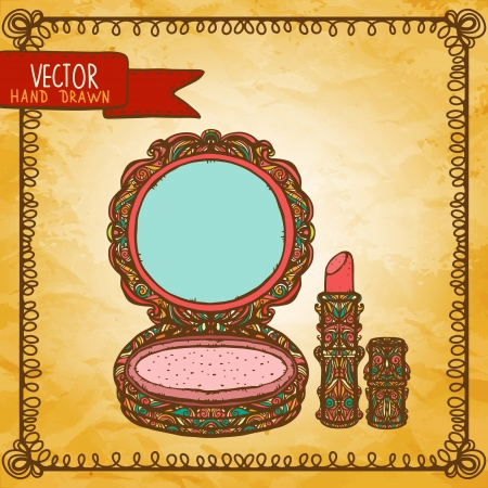 maquillage: Vintage background with compact powder and lipstick - vector Illustration
