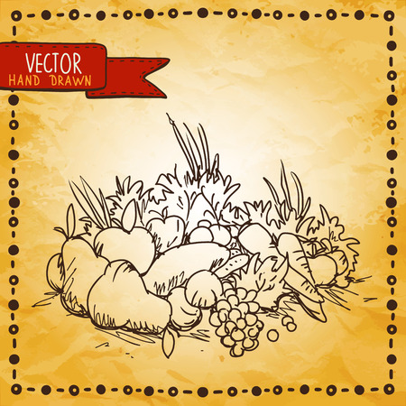 Vintage background with sketch vegetables and fruits - vector Vector