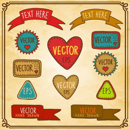 Vintage set hand drawing labels - vector Vector