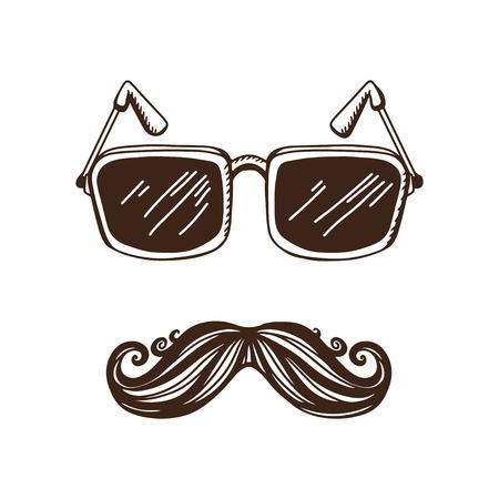 niewidoczny: Vintage, hipster tło z wąsami i okularami - wektor