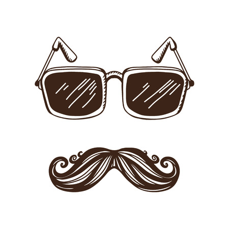 Vintage hipster background with a mustache and glasses - vector