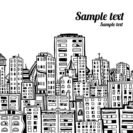 building sketch: Panorama of the city cartoon illustration in black and white - vector
