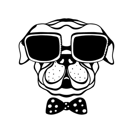 Dog with a bow and glasses isolated in black and white - vector Stock Illustratie