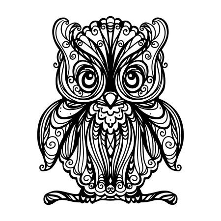 Hibou isolé en noir et blanc - illustration Banque d'images - 23406479