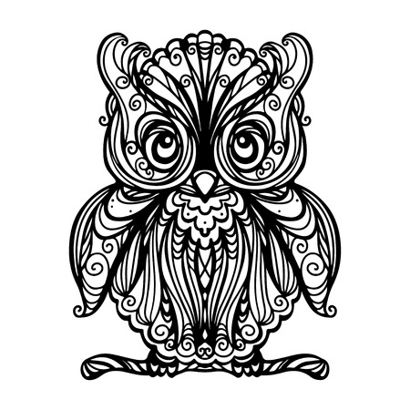 predator: Owl isolated in black and white - vector Illustration