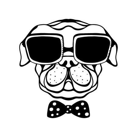 Dog with a bow and glasses isolated in black and white - vector Illustration