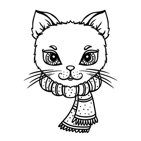 white cat: Cat with a scarf isolated in black and white - vector Illustration