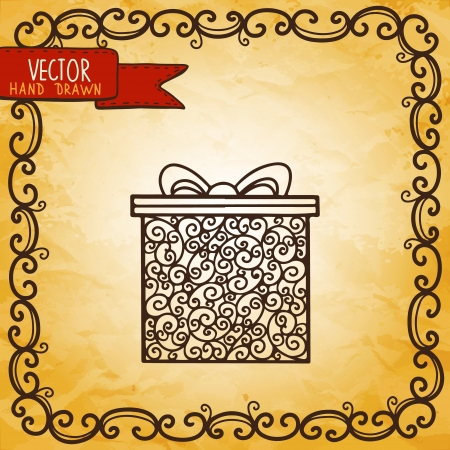 Vintage background with gift - vector Vector