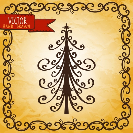 Vintage background with Christmas tree - vector Vector