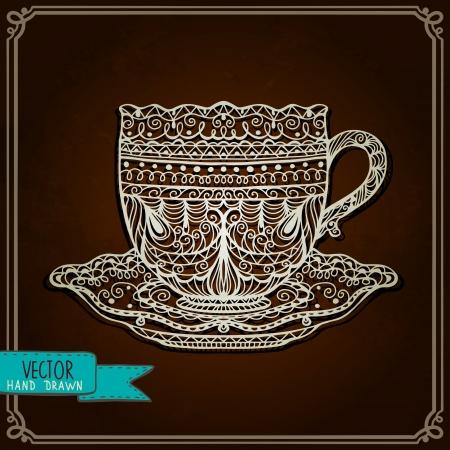 taza de te: Fondo de la vendimia con la taza - vector