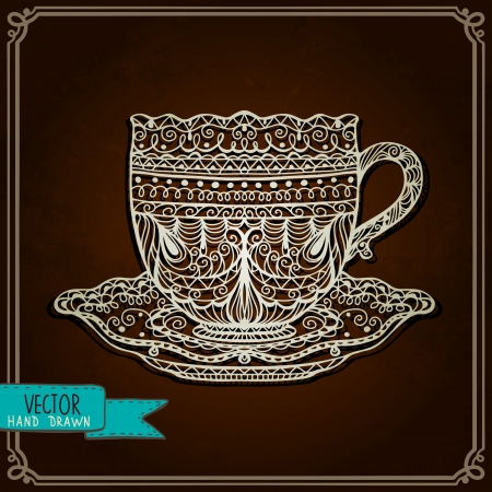 cup of tea: Vintage background with cup - vector Illustration