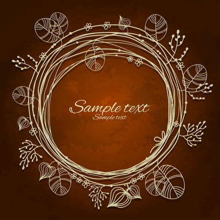 Vintage floral frame isolated silhouette with space for text - vector Vector