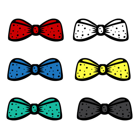 silk tie: Set bow tie isolated - vector Illustration