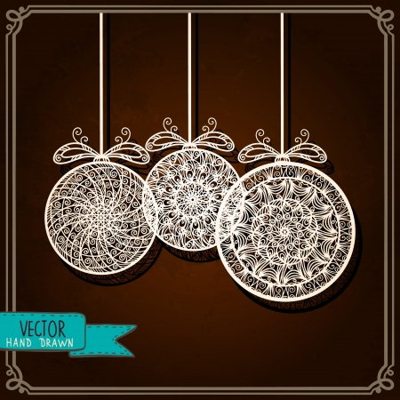 Vintage background with Christmas balls - vector