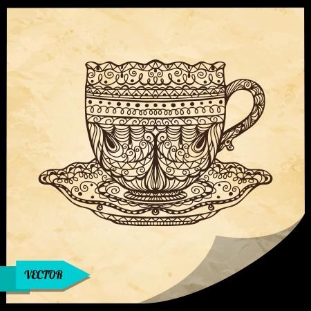 demitasse: Vintage sfondo con tazza - vettore Vettoriali