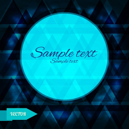 Blue geometric background with triangles and frame - vector Vector