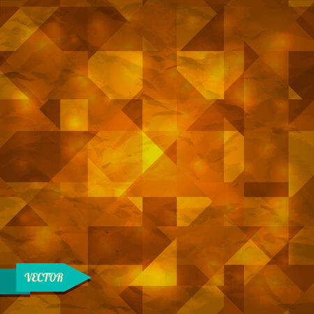 Orange geometric background with triangles - vector Vector