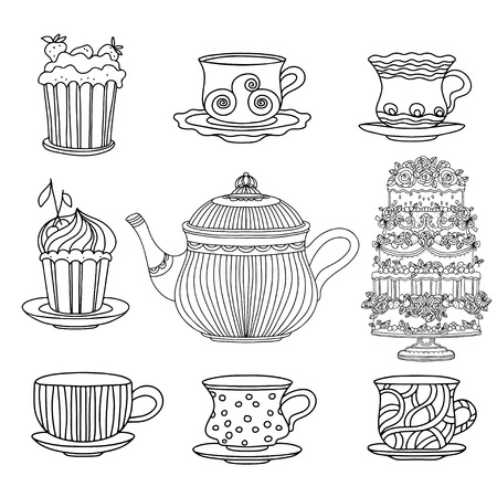crockery: Set cups, cakes and kettle - vector
