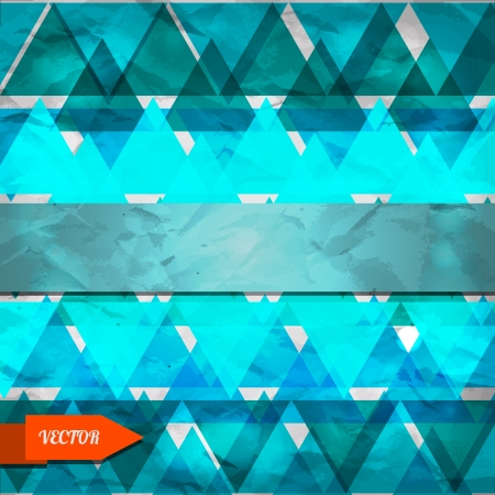 Blue geometric background with triangles - vector Vector